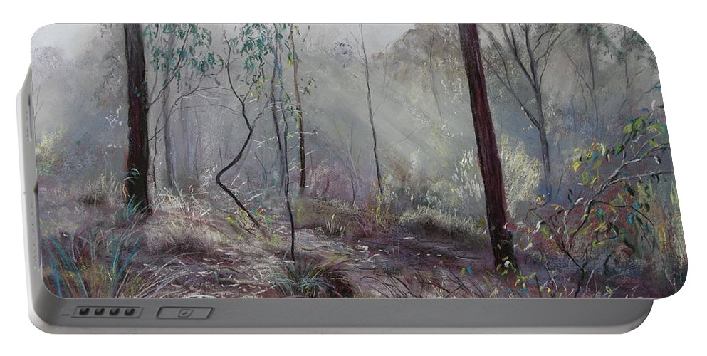 Lynda Robinson Portable Battery Charger featuring the painting A Wickham Misty Morning by Lynda Robinson
