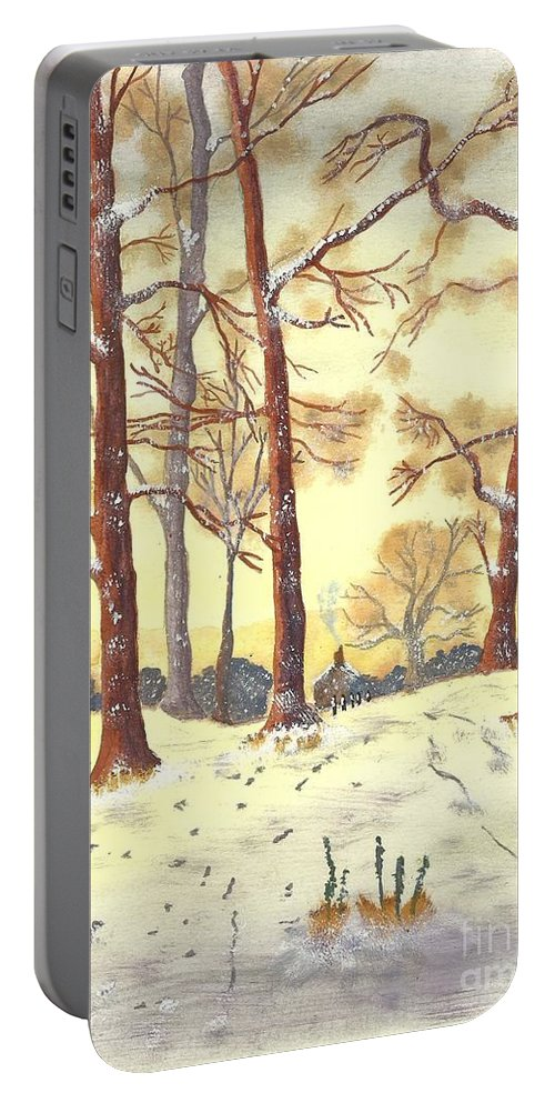 Winter Portable Battery Charger featuring the painting A Winters Glow by John Williams