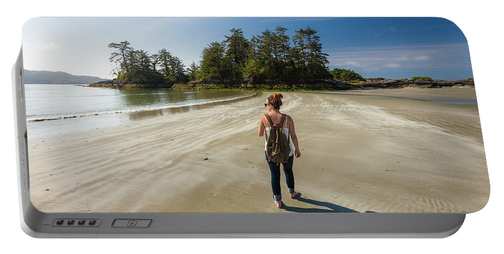 Idyllic Portable Battery Charger featuring the photograph A Young Woman Walks Towards Frank by Christopher Kimmel