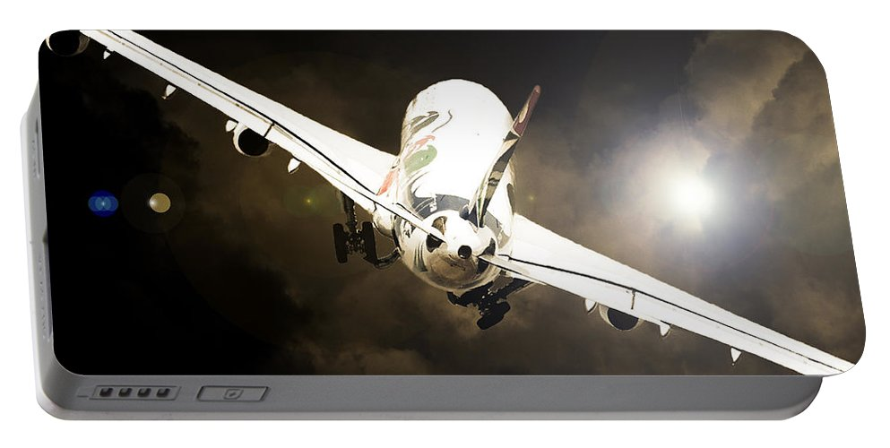 Airbus A340 Portable Battery Charger featuring the photograph A340 Takeoff by Paul Job