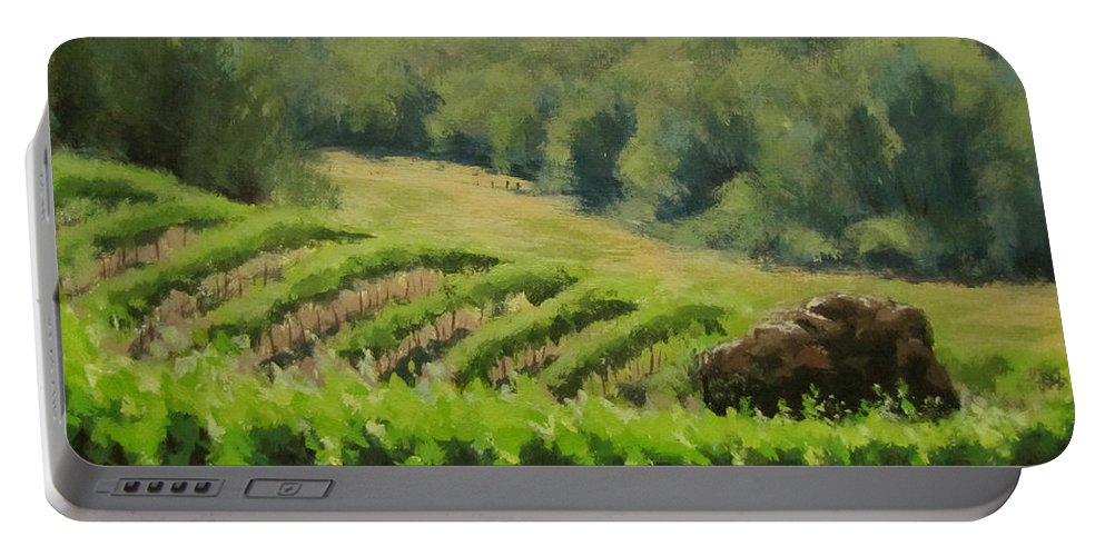 Winery Portable Battery Charger featuring the painting Abacela Vineyard by Karen Ilari