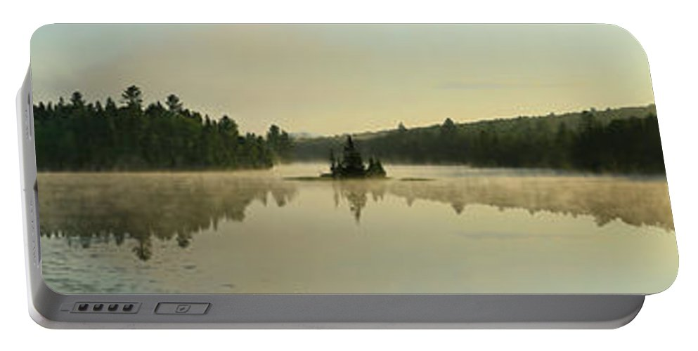Nature Portable Battery Charger featuring the photograph Abanakee Lake Sunrise Fog 180 Degree by Johnathan Ampersand Esper