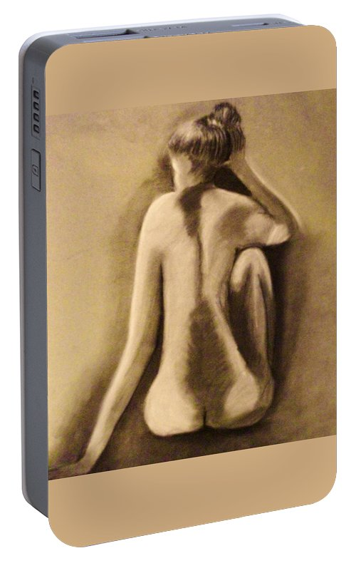 Nude Portable Battery Charger featuring the drawing Abandoned Dreams by Crystal Menicola