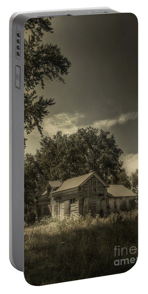 House; Home; Small; Farm House; Boarded; Boards; Wood; Falling Apart; Weeds; Grasses; Trees; Secluded; Abandoned; Desolate; Closed; Dark; Darkness; Ominous; Foreboding; Mystery; Mysterious; Deserted Portable Battery Charger featuring the photograph Abandoned Homestead by Margie Hurwich