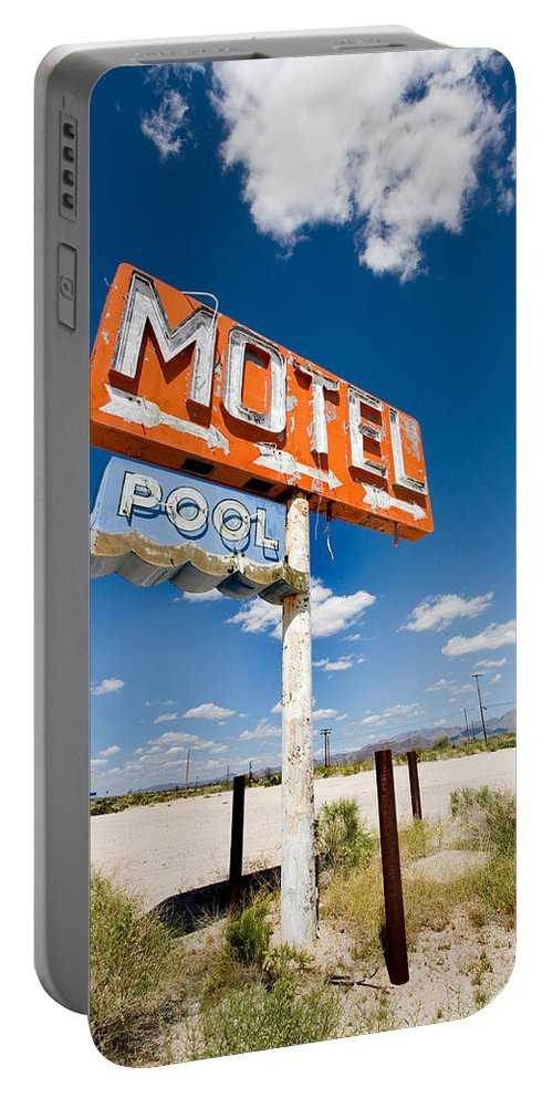 Arizona Portable Battery Charger featuring the photograph Abandoned Motel by Peter Tellone