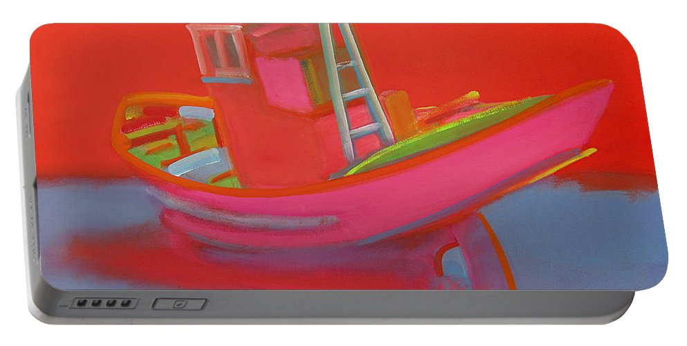 Fishing Portable Battery Charger featuring the painting Abandoned Red Fishing Trawler by Charles Stuart