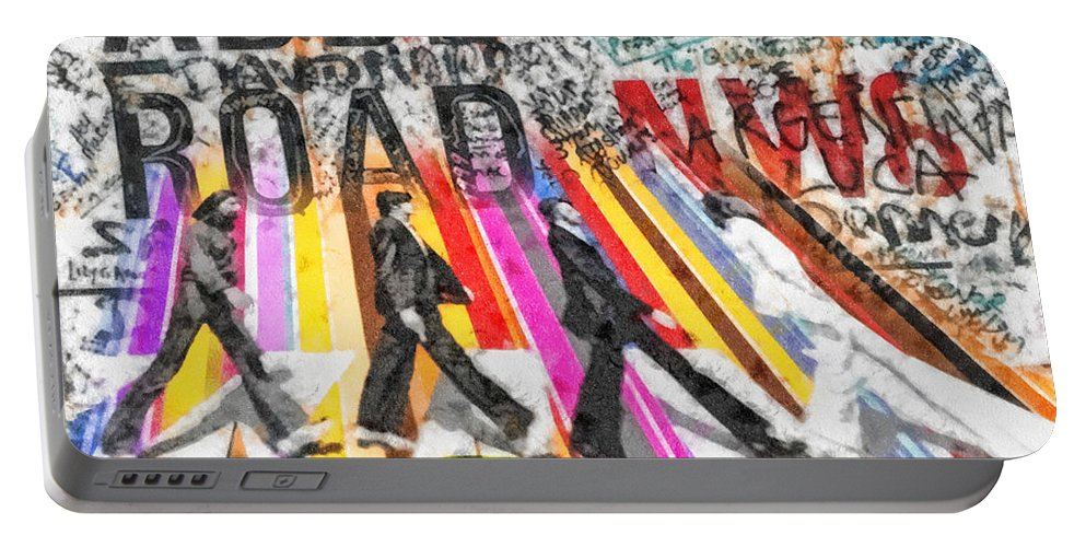 Abbey Road Portable Battery Charger featuring the mixed media Abbey Road by Mo T