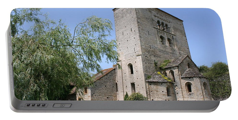 Abbey Portable Battery Charger featuring the photograph Abbey Ruin - Burgundy by Christiane Schulze Art And Photography