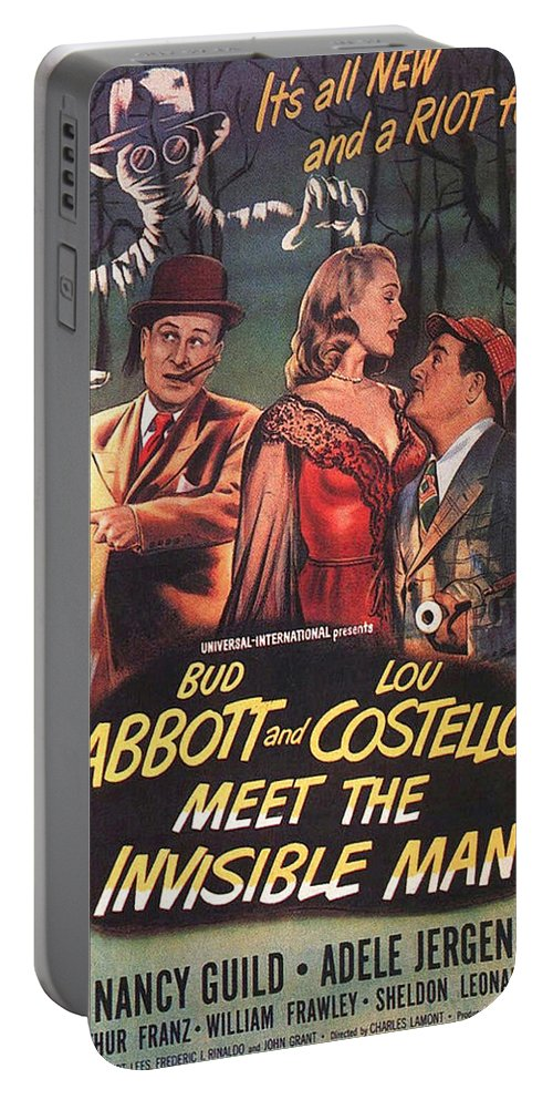 Abbott And Costello Portable Battery Charger featuring the photograph Abbott And Costello Meet The Invisible Man by Movie Poster Prints