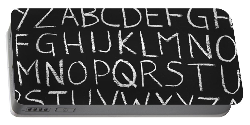 Alphabet Portable Battery Charger featuring the photograph Abc On A Chalkboard by Chevy Fleet