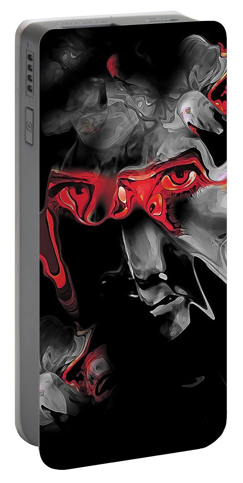 Abstract Portable Battery Charger featuring the digital art About Face Abstract Portrait by Galen Valle