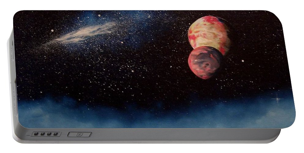 Landscape Portable Battery Charger featuring the painting Above Alien Clouds by Murphy Elliott