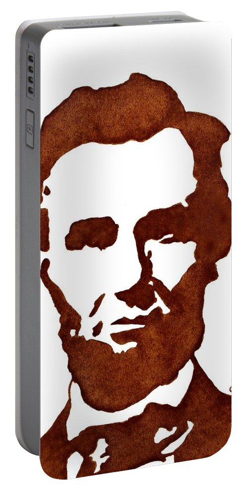 Abraham Lincoln Portable Battery Charger featuring the painting Abraham Lincoln Original Coffee Painting by Georgeta Blanaru