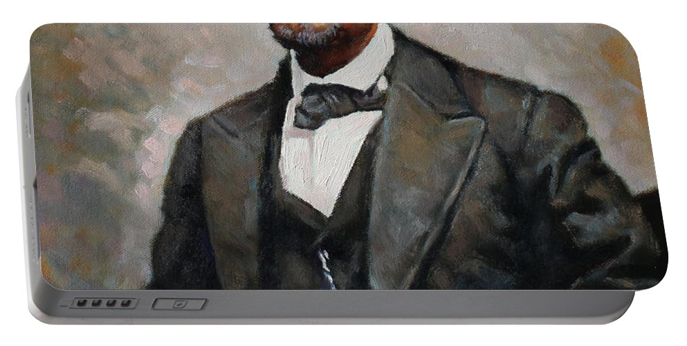 Abraham Lincoln Portable Battery Charger featuring the painting Abraham Lincoln by Ylli Haruni
