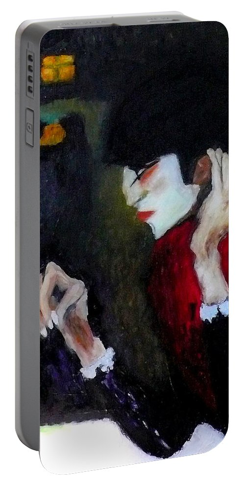 Picasso Portable Battery Charger featuring the painting Absinthe Drinker After Picasso by Katy Hawk