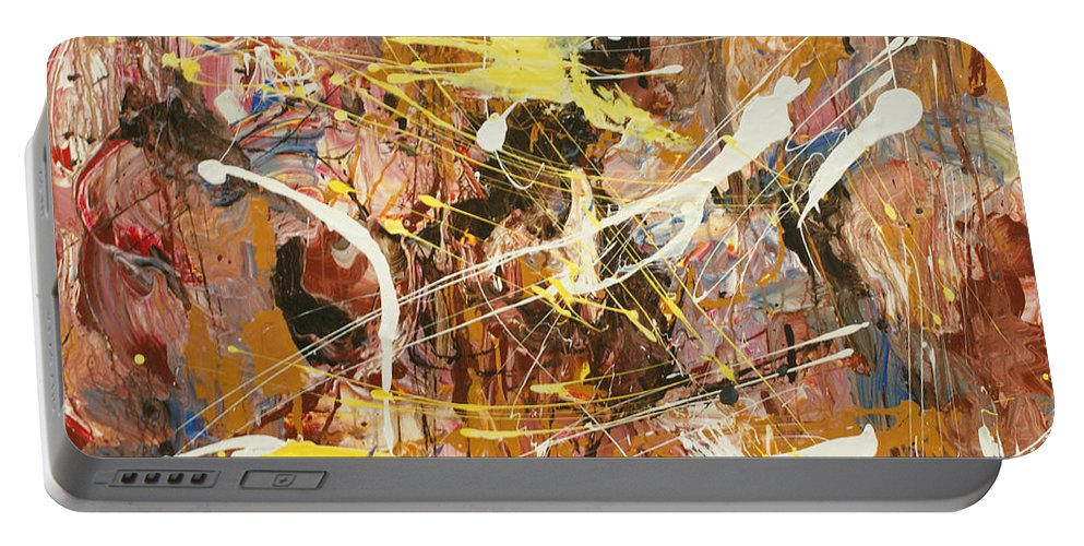 Abstract Art Portable Battery Charger featuring the painting Abstract 1 by Harout Shamamian