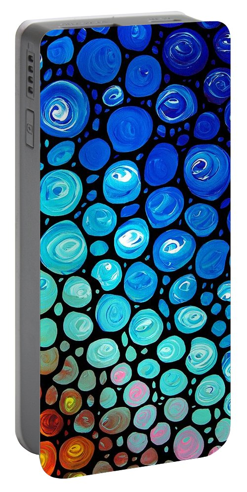 Colorful Portable Battery Charger featuring the painting Abstract 2 by Sharon Cummings