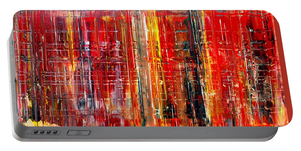 Abstract Art Portable Battery Charger featuring the painting Abstract 7 by Harout Shamamian