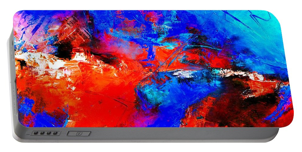Abstract Portable Battery Charger featuring the painting Abstract 9683805 by Pol Ledent