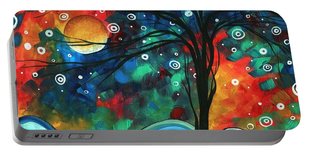 Abstract Portable Battery Charger featuring the painting Abstract Art Original Landscape Colorful Painting First Snow Fall By Madart by Megan Duncanson