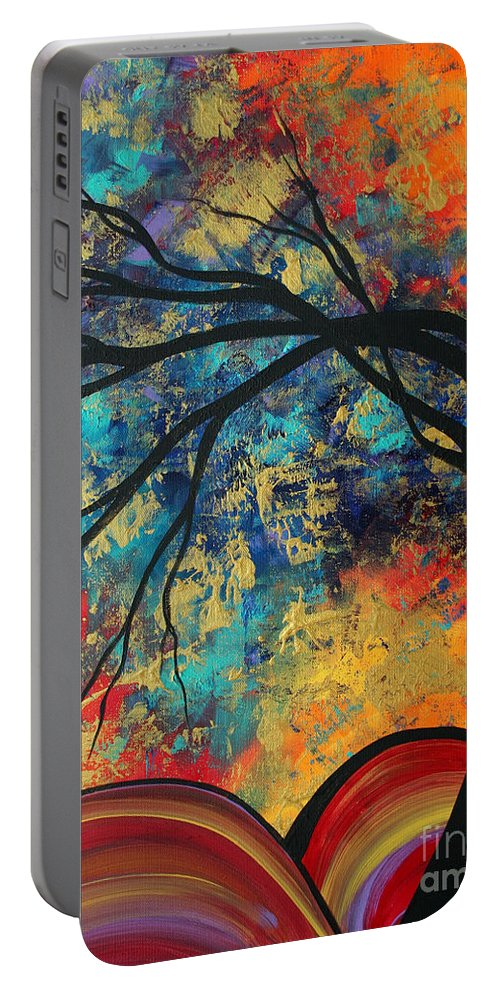 Abstract Portable Battery Charger featuring the painting Abstract Art Original Landscape Painting Go Forth II By Madart Studios by Megan Duncanson