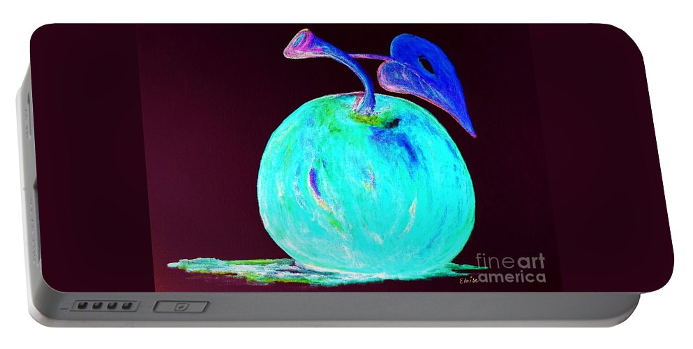 Apple Portable Battery Charger featuring the painting Abstract Blue And Teal Apple On Black by Eloise Schneider Mote
