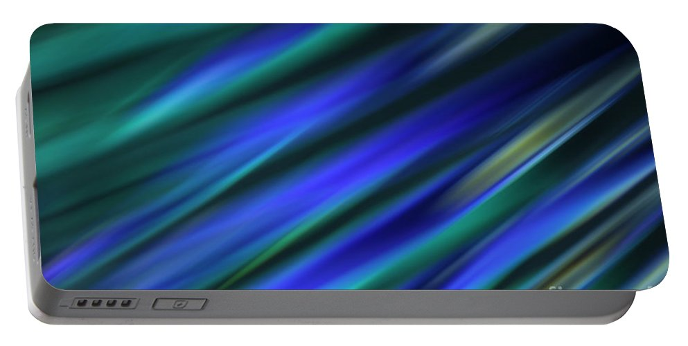 Blue Portable Battery Charger featuring the photograph Abstract Blue Green Diagonal Blur by Marvin Spates