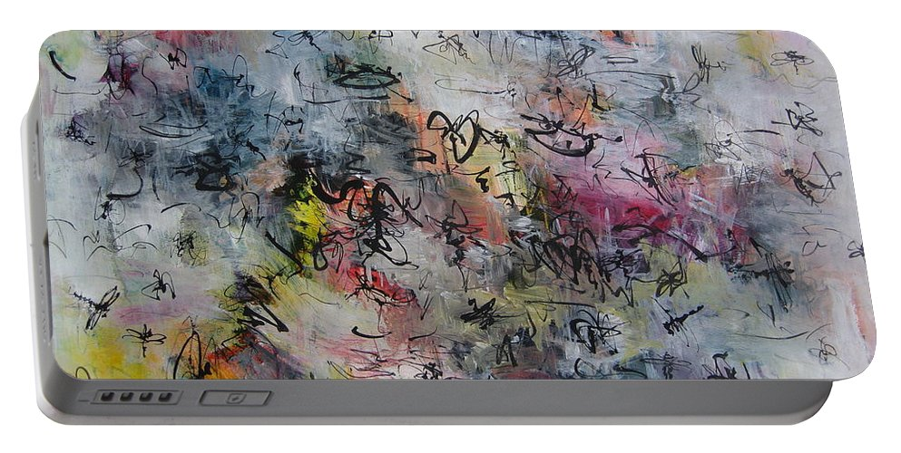 Butterfly Paintings Portable Battery Charger featuring the painting Abstract Butterfly Dragonfly Painting by Seon-Jeong Kim