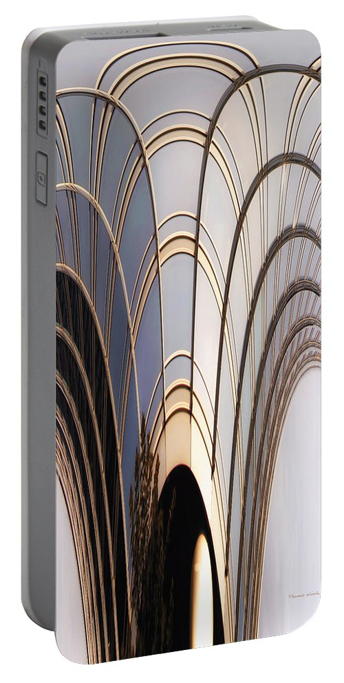 Chicago Portable Battery Charger featuring the photograph Abstract Chicago Sunrays On Trump Tower by Thomas Woolworth