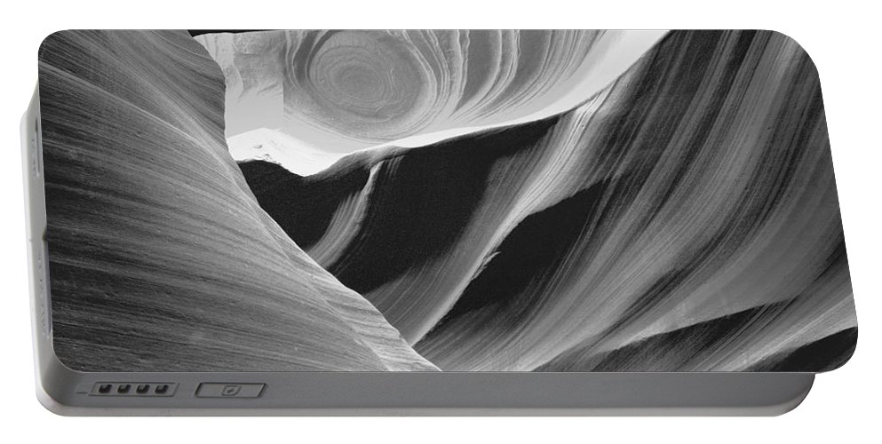 Abstract Circle In Black And White Is Designed By The Floods Of Water That Rushes Through The Lower Antelope Canyon On Its Way To Lake Mead. Portable Battery Charger featuring the photograph Abstract Circle by Mae Wertz