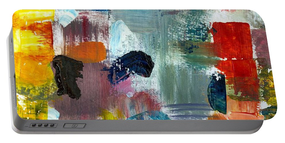 Abstract Collage Portable Battery Charger featuring the painting Abstract Color Relationships Lv by Michelle Calkins