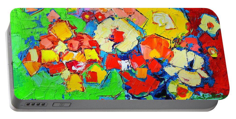 Abstract Portable Battery Charger featuring the painting Abstract Colorful Flowers by Ana Maria Edulescu