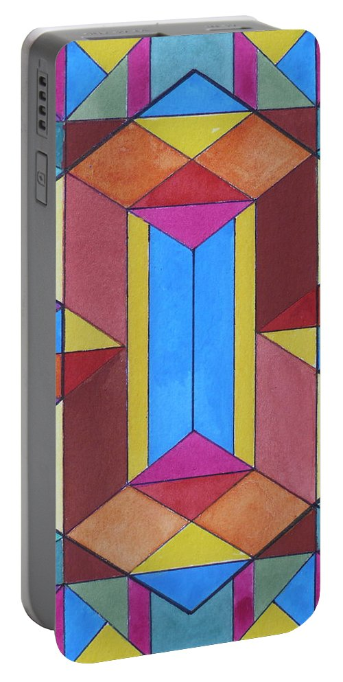 Abstract Portable Battery Charger featuring the painting Abstract Colorful Stained Glass Window Design by Anna Ruzsan