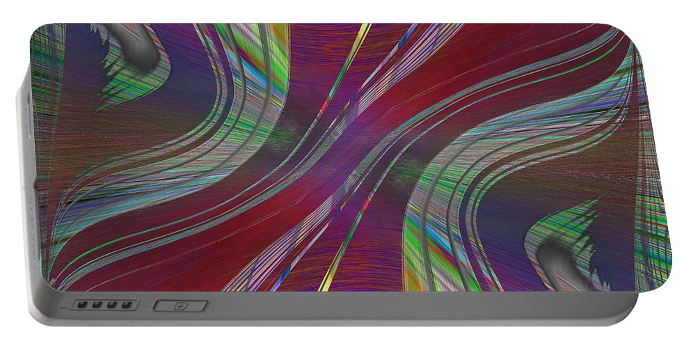 Abstract Portable Battery Charger featuring the digital art Abstract Cubed 181 by Tim Allen