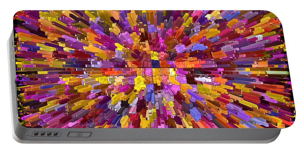 Abstracts Portable Battery Charger featuring the digital art Abstract Cubes Red Orange by Kurt Van Wagner