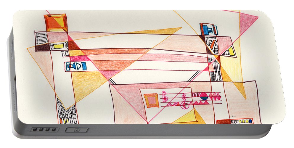Abstract Portable Battery Charger featuring the drawing Abstract Drawing Eighteen by Lynne Taetzsch