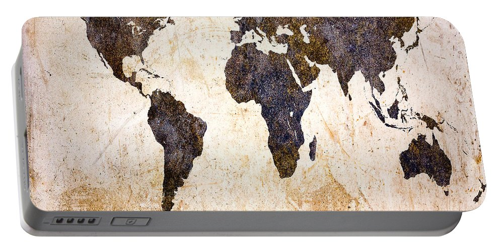 Map Portable Battery Charger featuring the digital art Abstract Earth Map by Bob Orsillo