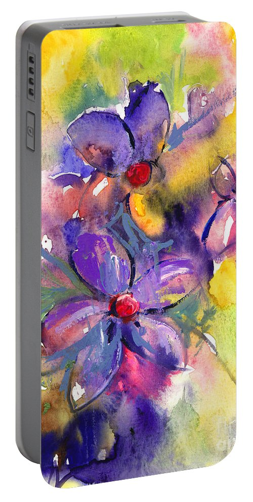 Abstract Watercolor Flowers Prints Portable Battery Charger featuring the painting abstract Flower botanical watercolor painting print by Svetlana Novikova