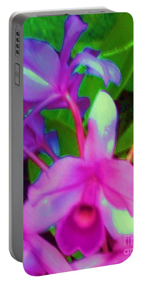 Abstract Portable Battery Charger featuring the photograph Abstract Flowers by Eric Schiabor