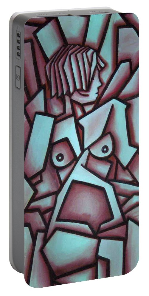 Abstact Portable Battery Charger featuring the painting Abstract Girl by Thomas Valentine