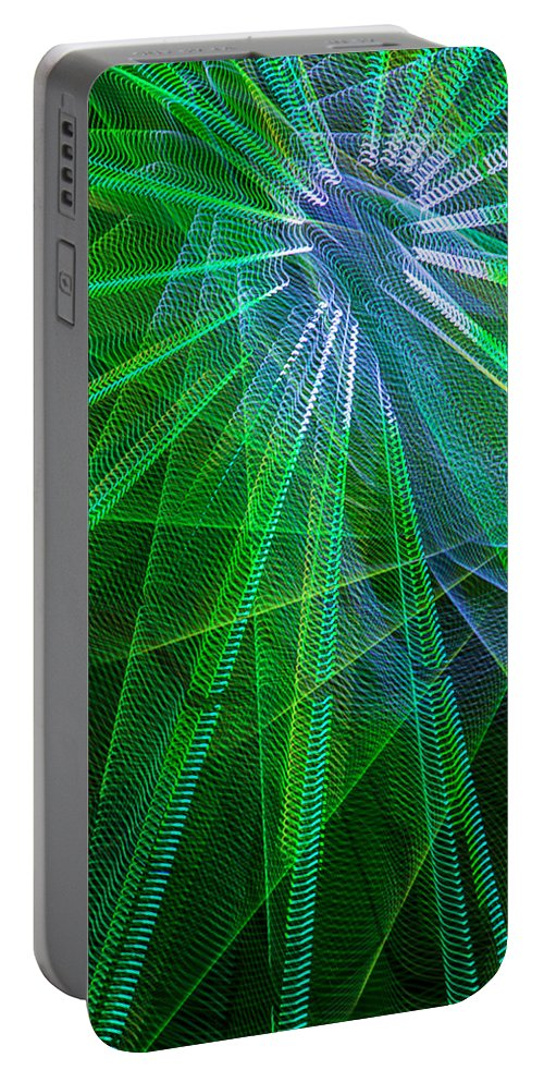 Light Abstract Portable Battery Charger featuring the photograph Abstract Green Lights by Garry Gay