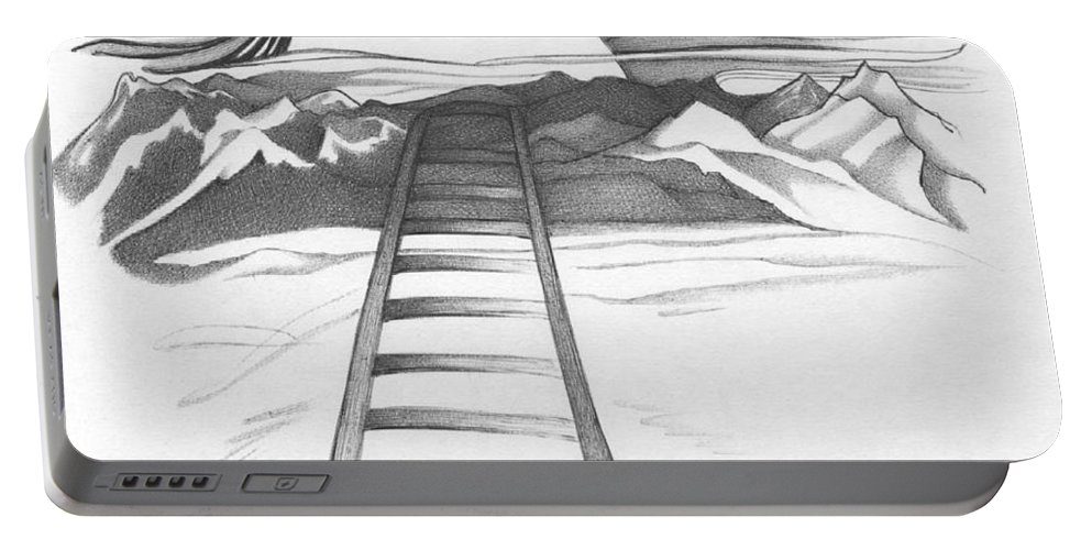 Railroad Portable Battery Charger featuring the drawing Abstract Landscape Art Black And White Baby Please Don't Go By Romi by Megan Duncanson