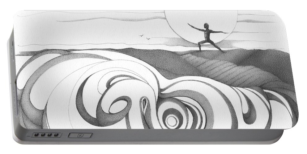 Swirl Portable Battery Charger featuring the drawing Abstract Landscape Art Black And White Yoga Zen Pose Between The Lines By Romi by Megan Duncanson