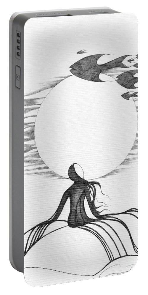 Abstract Portable Battery Charger featuring the drawing Abstract Landscape Art Black And White Goin South By Romi by Megan Duncanson