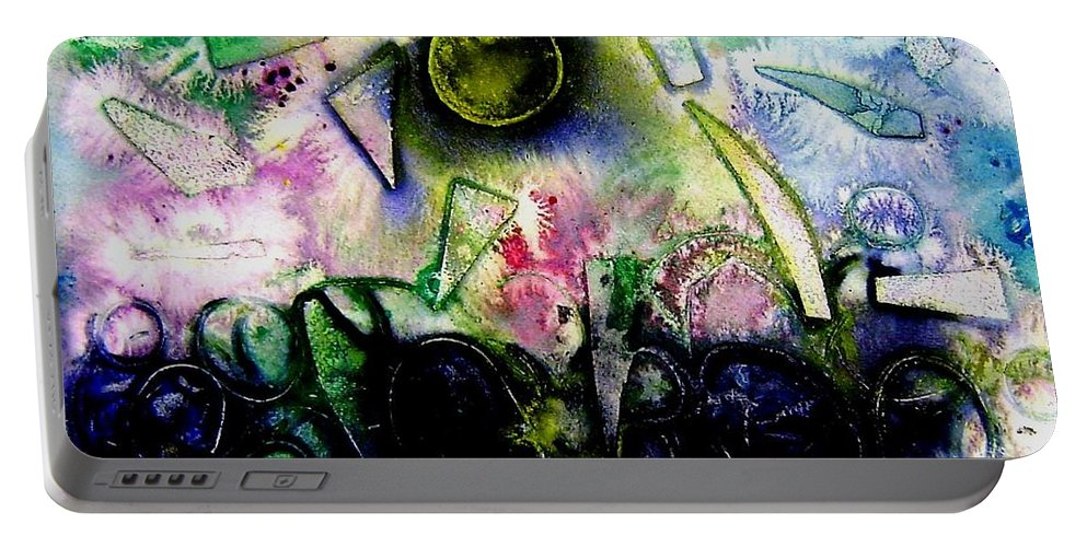 Abstract Portable Battery Charger featuring the mixed media Abstract Landscape II by John Nolan