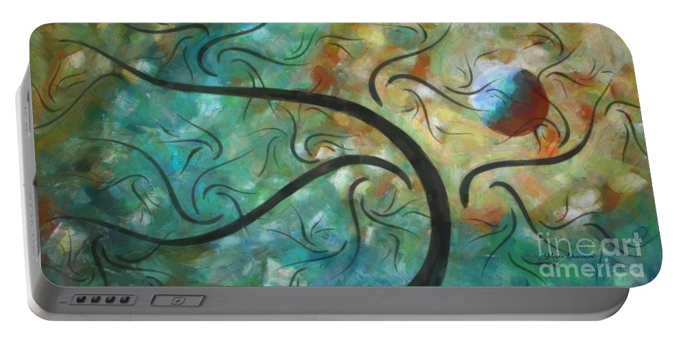 Abstract Portable Battery Charger featuring the painting Abstract Landscape Painting Digital Texture Art By Megan Duncanson by Megan Duncanson