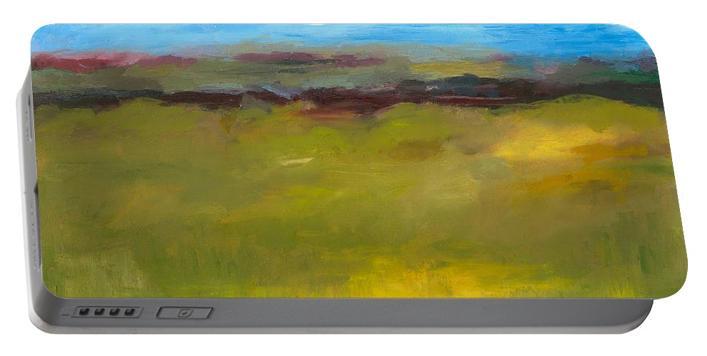 Abstract Expressionism Portable Battery Charger featuring the painting Abstract Landscape - The Highway Series by Michelle Calkins