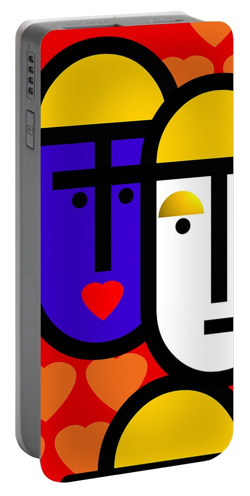 Abstraction Portable Battery Charger featuring the painting Abstract Modern by Charles Stuart