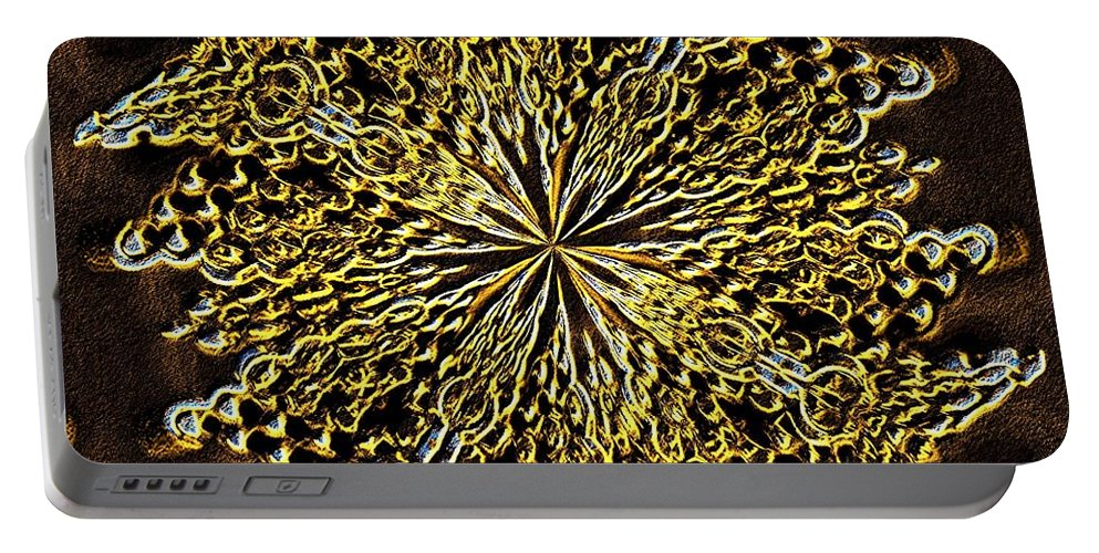 Abstract Neon Gold Portable Battery Charger featuring the digital art Abstract Neon Gold by Maria Urso