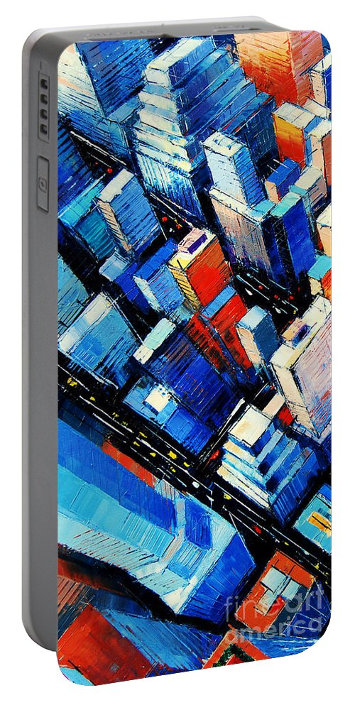 Abstract New York Sky View Portable Battery Charger featuring the painting Abstract New York Sky View by Mona Edulesco